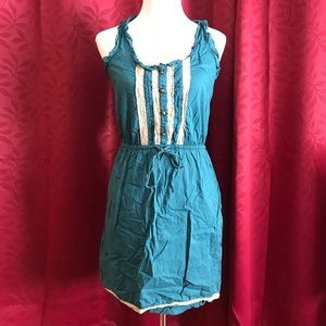 Button Up Front Cinch Waist Dress with Lace